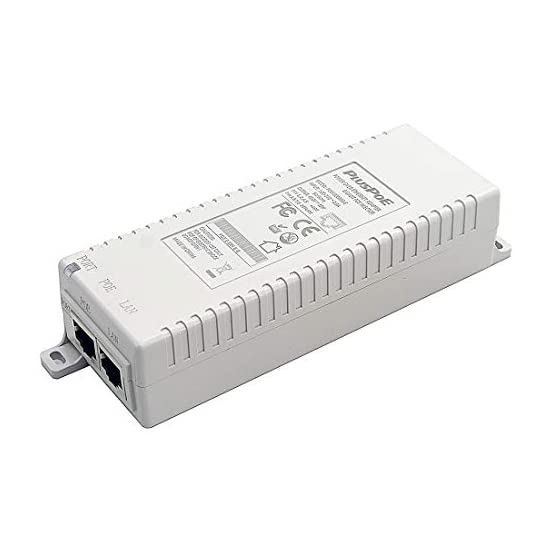 PLUSPOE 30W Gigabit PoE Injector Adapter, 10/100/1000Mbps RJ-45, IEEE 802.3af / 802.3at Compliant, up to 100 Meters (325…