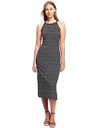 Hot Sale Slimmer Figure High-Neck Side-Slit Midi Dress For Women (Black