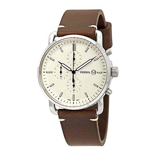 mmuter' Quartz Stainless Steel and Leather Casual Watch, Color:Brown (Model: FS5402) ()