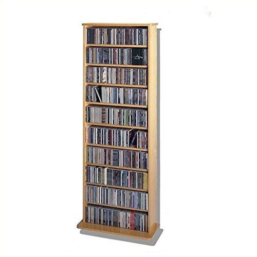 Leslie Dame CDV-500 High Capacity Oak Veneer Multimedia Storage Rack, Oak from LDE LESLIE DAME