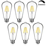 Dimmable 6W ST64 LED Edison Light Bulbs 800Lumens 60W Equivalent Warm White 2700K and Daylight White 4000K