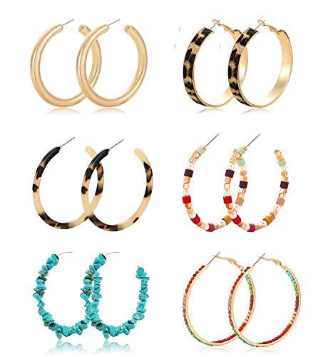 Hoop Earrings Set For Women Girls Statement Chunky Acrylic Resin Leopard Rainbow Beaded Turquoise Mix Color Rhinestone Hoop Earrings Set