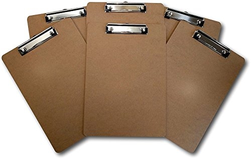 ThunderClips Letter/A4 Size Hardboard Clipboard with Low Profile Clip (Pack of 6)]()
