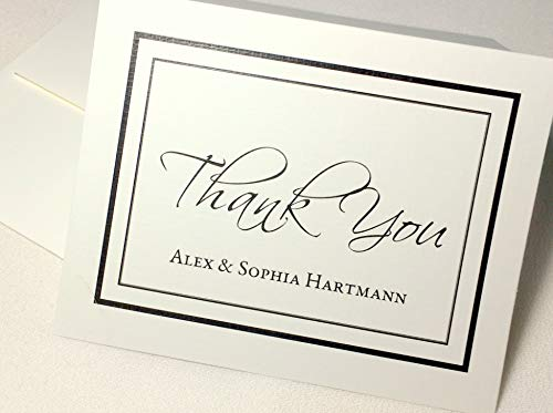 50 Personalized Thank You Note Cards Printed with Any Name(s). Set of 50 or 20 w Matching Envelopes. Beautiful Quality Linen Textured Cards. Folding Cards, Blank Inside (50 - Cards Personalized Thank You