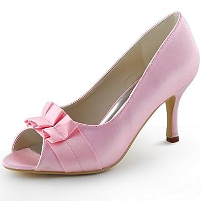 ElegantPark EP2108 Women's Pumps Peep Toe High Heels Satin Ruffles Evening Party Wedding Bridal Shoes new