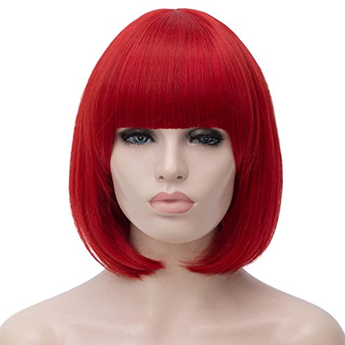 Red Bob Wig Short Hair Wigs with Bangs for Women Straight Full Synthetic Wig 12'' Natural Looking with Wig Cap BU27R]()