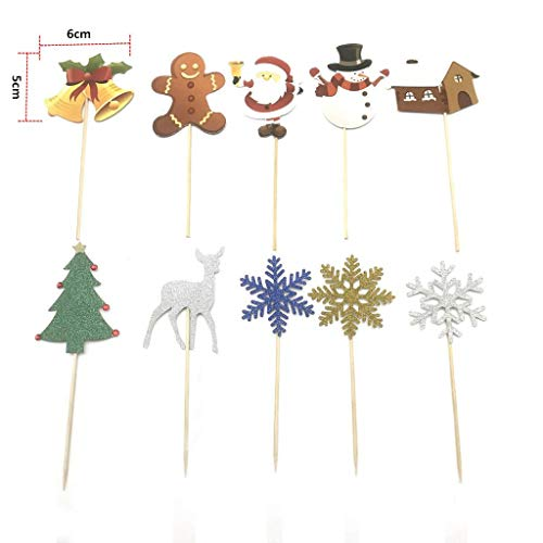 Christmas Cupcake Cake Toppers Cake Insert Flags for Party Baking Photograph New,Silver, gold