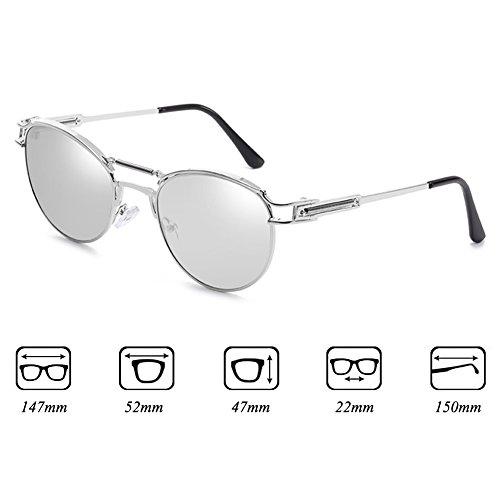 Metal Steampunk Vintage hommes pour junkai de C7 les femmes Vintage soleil lunettes Revêtement E6w5p