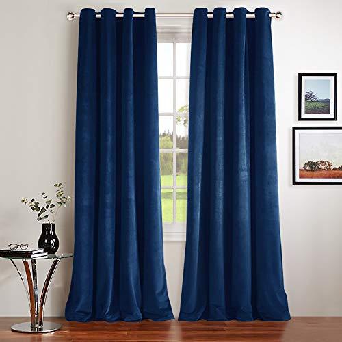 NICETOWN Living Room Blackout Velvet Curtains - Soundproof Velvet Woven Home Theater Grommet Top Drapes (1 Pair, W52xL96-inch, Royal Blue) ()