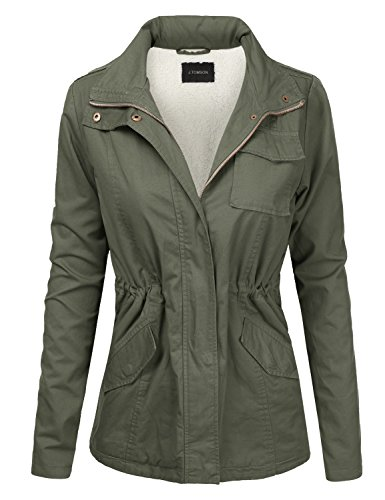 J.TOMSON Women's Lightweight Military Anorak Jacket with Soft Sherpa Lining Olive L ()