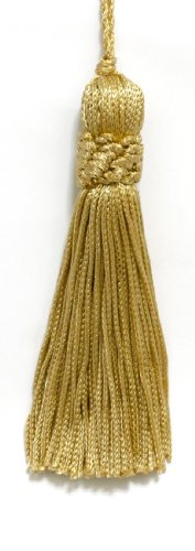 DÉCOPRO Set of 10 Light Gold Crown Head Chainette Tassel, 4 Inch Long with 1 Inch Loop, Basic Trim Collection Style# CT04 Color: Light Gold - B7