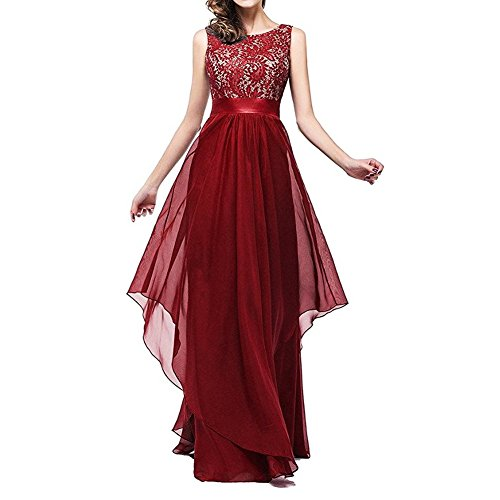 Anxihanee Women's Sleeveless Chiffon Lace Evening Bridesmaid Maxi Dress (L, Wine Red)