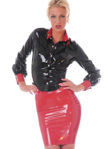 Latex Lipstick Pencil Skirt-Red-UK 12, US 10, EU 40 (M) - Mistress Of The Dark Costume Uk