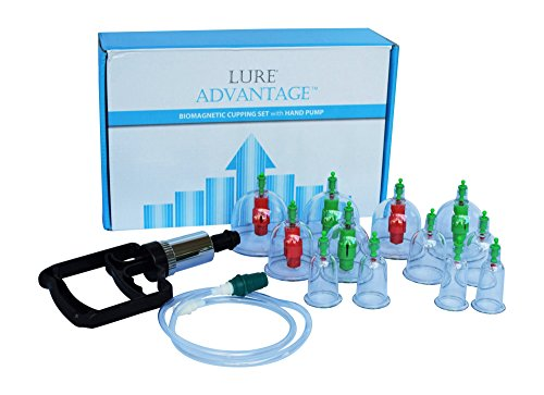 Chinese Cupping Suction Therapy Set with Vacuum Pump - LURE ADVANTAGE Suction Cups with FREE Illustrated English Cupping Book