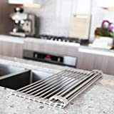 Roll Up Dish Drying Rack by MagnaLecta - Over the Sink Silicone Coated Stainless Steel Self Draining Holder and Organizer – Foldable, Heat Resistant - Easily Adjustable and Takes No Storage Space