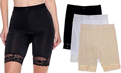 Peachy Panty 3 Packs Shapewear Smooth Hi-Waist Under Skirt Slip Short Panties (4X, 3 Pack Basic)