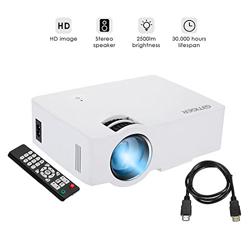 GBTIGER Full HD 2500 Lumens Projector Portable Mini Home Theater 800 x 480 Pixels Support 1080P with VGA HDMI USB SD Card Slot for Home Theater Video Projector Cinema Movie Party Games, White by GBTIGER