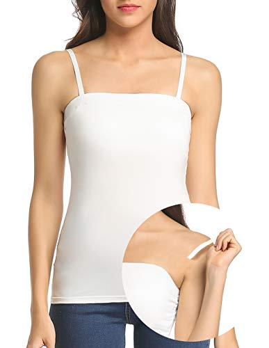 - Tank Tops for Women Removable Strap Camisole with Built in Padded Bra Vest Cami Sleeveless Top White S