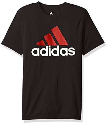 adidas Boys Big Short Sleeve Logo Tee Shirt, Caviar Black, L (14/16)