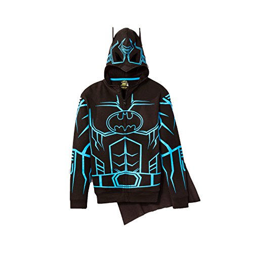 [DC Comics Batman Glow-in-The-Dark Boys' Fleece Hoodie Sweater - Detachable Cape (X-Large 14/16)] (Black Man In Batman Costume)