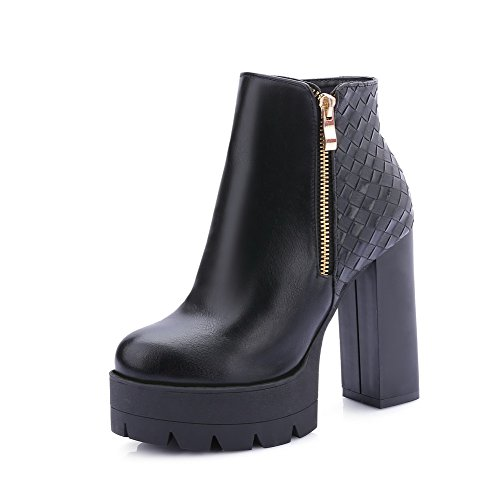 Allhqfashion Women's Closed Round Toe Low Top High Heels Solid Pu Boots Black mHTlPW