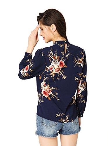 Inverno Donna Camicia Blu Casual Primavera Maniche Classici Lunghe Flanella A Stile Bluse dark Di Autunno Quadri Abollria Fiori Boyfriend Per a4xBwqa