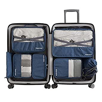 Cloudsky 7 Set Packing Cubes, Travel Storage Bags Multifunctional Clothing Sorting Packages, Travel Packing Pouches, Luggage Organizer Pouch, Shoe Bags (3 Travel Cubes + 4 Pouches, Navy)