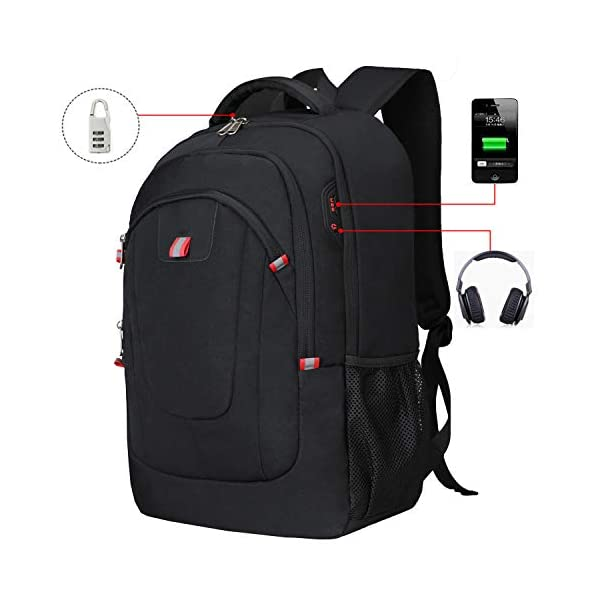 UBORSE Laptop Backpack 17.3 inch Anti Theft Computer Bag with USB Men Black UBORSE Laptop Backpack 17.3 inch Anti Theft Computer Bag with USB Men Black 41jxWvARRHL