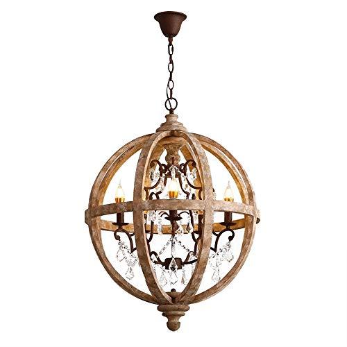 KunMai Country Rustic Wooden Chandelier Crystal 5-Light Retro Wood Metal Globe Chandeliers Farmhouse Ceiling Pendant Lighting