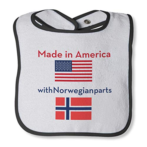Made In America With Norwegian Parts Cotton Boys-Girls Baby Terry Bib Contrast Trim - White Black, One -