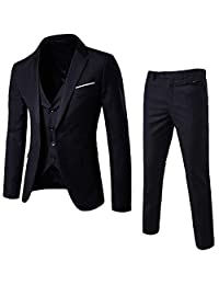Yuxikong Mens 3 Pieces Suit Slim Fit Party Blazer Vest Pants Set