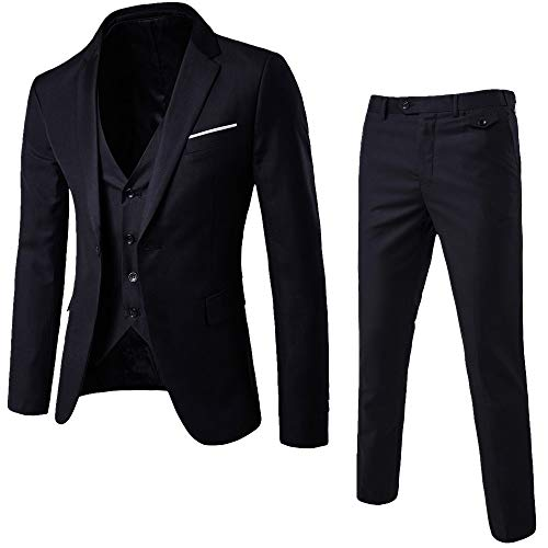 Startview Men's Suit Slim 3-Piece Suit Blazer Business Wedding Party Jacket Vest & Pants (Black, XXX-Large)