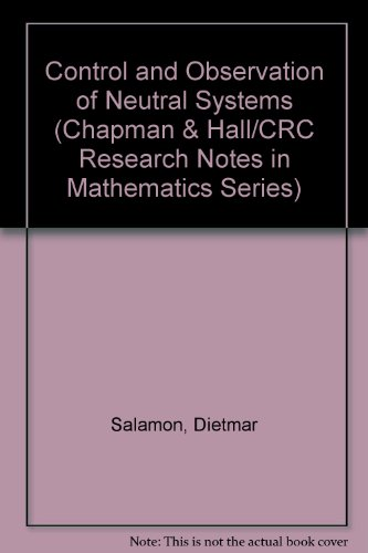 Control and observation of neutral systems (Research notes in mathematics)