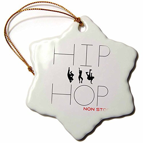 3dRose Alexis Design - Dance - Hip Hop Non Stop Text, Three Dancing Figures on White Background - 3 inch Snowflake Porcelain Ornament ()