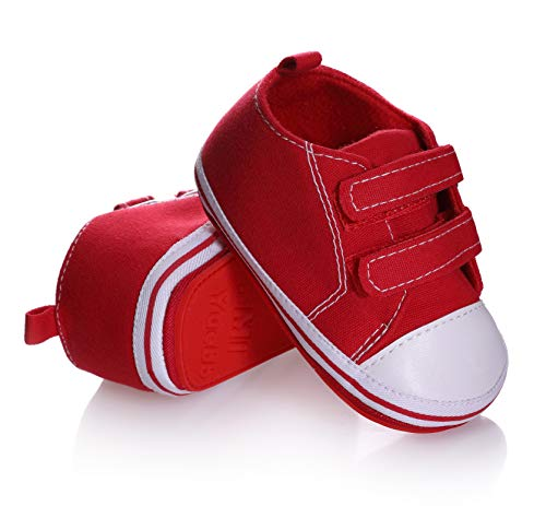 NOVCO Unisex Baby Sneakers Toddler Boys Girls Anti-Slip First Walkers Canvas Shoes 0-24 Months (12-18 Months M US Toddler, Red 02)