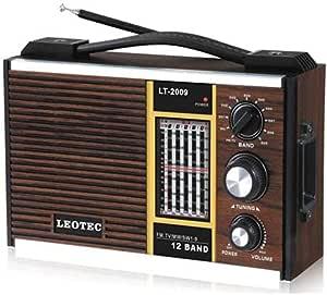 راديو كلاسيك بتصميم خشبي من ليوتك، لون بني، اف ام، ايه ام، ام دبليو 1، ام دبليو 2 - LT.2009