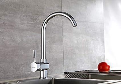 Aurho Rubinetto Lavello Cucina Girevole a 360 °Miscelatore Cucina in Ottone di alta Qualità Acqua Fredda e Calda Rubinetti Cucina,Cromo