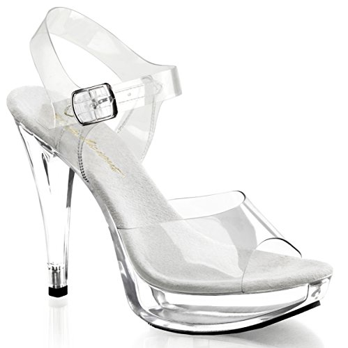 Pleaser Women's Cocktail-508/C/M Platform Sandal,Clear/Clear,12 M US (Platform Stripper)