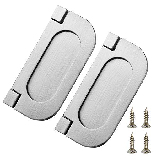 Zinc Ring Pull - Bluecll 2pcs 75 x 35mm Metallic Modern Door Drawer Ring Pull Handle for Cabinet Kitchen Dresser Furniture with Screws