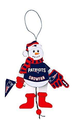 NFL New England Patriots Wooden Cheering Snowman Ornament