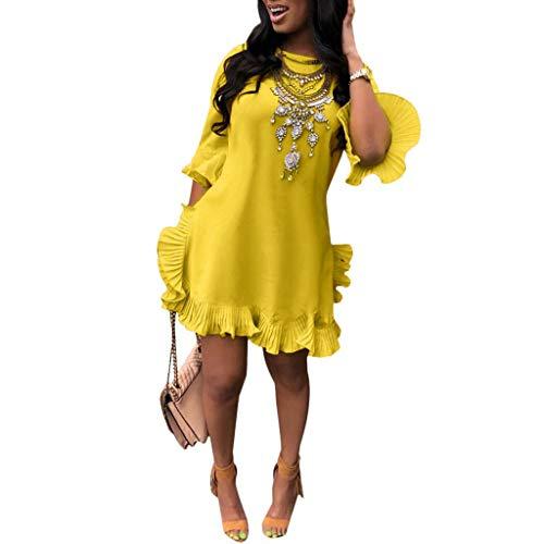 ★ZFK_DRESS Women's Ruffle Trim Sleeve Summer Beach A Line Loose Swing Dress Yellow