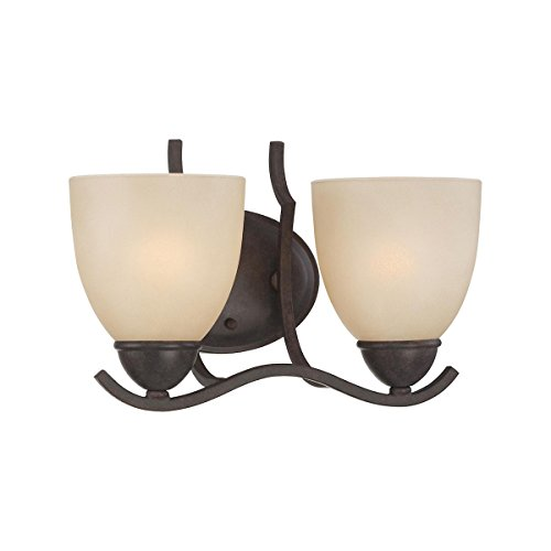 Thomas Lighting SL7172-22 Triton - Two Light Bath Vanity, Sable Bronze Finish with Tea Stained Glass ()