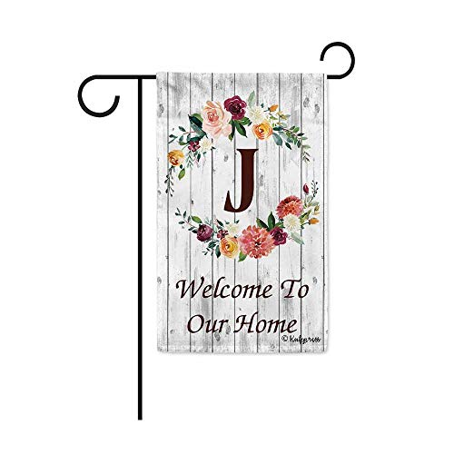 (KafePross Hello Spring Flowers Summer Initial Letter Monogram J Garden Flag Welcome to Our Home Warminghouse Decor Banner for Outside 12.5X18 Inch Double Sided)
