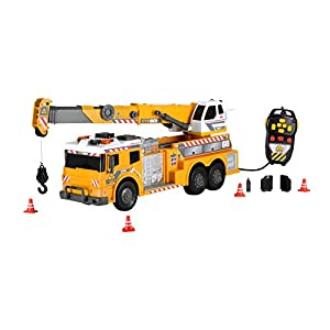 """Dickie Toys 24"""" Remote Control Light and Sound Construction Heavy Weight Lifter Vehicle (With Moving Ladder)"""