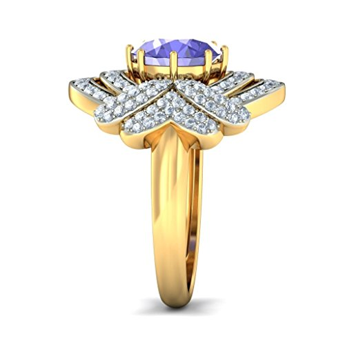 14 K Or jaune, 0,71 carat Diamant Blanc (IJ | SI) tanzanite et diamant Bague