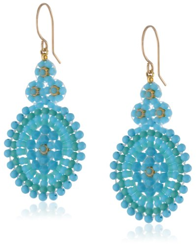 (Miguel Ases Turquoise Small Oval Drop Earrings, 2