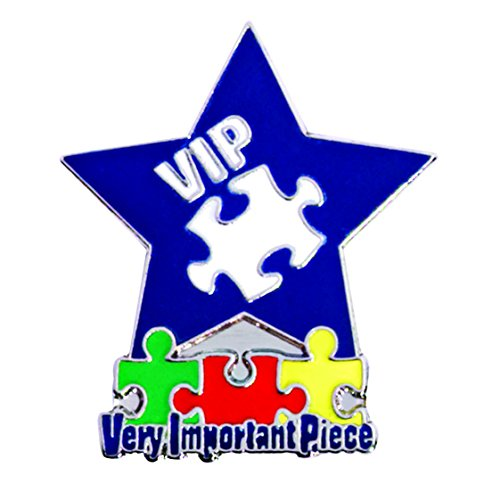 Blue Star and Puzzle Pieces VIP Very Important Piece Award Lapel Pins, 12 Pins