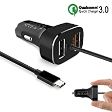 SSA Car charger Quick Charge 3.0 Dual USB Adapter with Integrated Built-in Type-C 3.1 Cord for Macbook 12 inch, Google Pixel/ Pixel XL Galaxy S8/ S8 Plus More