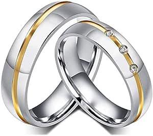 18K مطلية بالذهب خواتم زوجين مجموعة الساطع مكعب زركونيا الماس الزفاف العشاق الهدايا - نساء 7 الولايات المتحدة، والرجال 9 الولايات المتحدة