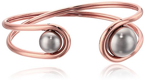 Michael Kors Modern Classic Rose Gold-Tone and Grey Pearl Flex Bracelet